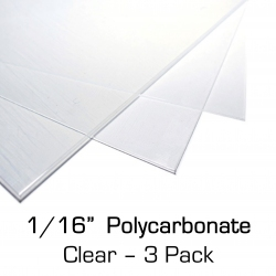 "Polycarbonate Sheet 12"" x 24"" x 0.0625"" (1/16""), 3 Pack"
