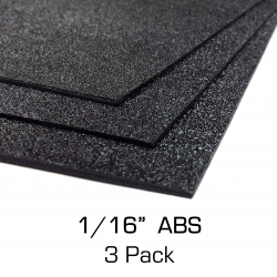 "ABS Plastic Sheet 12"" x 24"" x 0.0625"" (1/16""), 3 Pack"