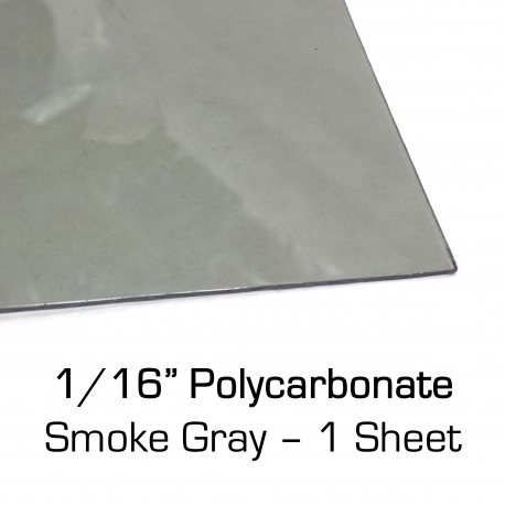 "Smoke Gray Polycarbonate Sheet 12"" x 24"" x 0.0625"""