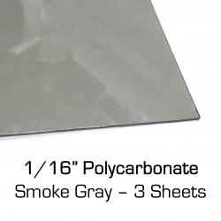 "Smoke Gray Polycarbonate Sheet 12"" x 24"" x 0.0625"" (1/16""), 3 Pack"