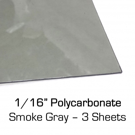"Smoke Gray Polycarbonate Sheet 12"" x 24"" x 0.0625"", 3 Pack"