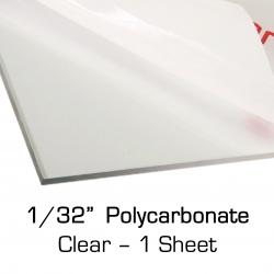 """Thin Polycarbonate Sheet 12"""" x 24"""" x 0.03"""" (1/32"""")"""