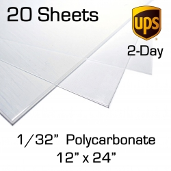 "0.030"" x 12"" x 24"" Polycarbonate Sheet, 20 Pack, for Face Shields (1/32 inch)"