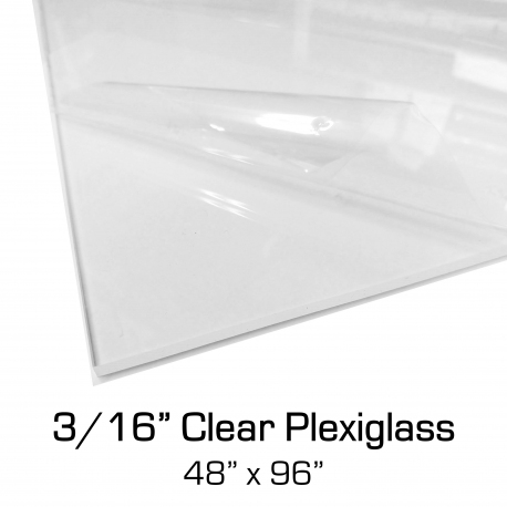 "3/16"" x 48 x 96 Clear Plexiglass Acrylic Sheets for Sneeze Guards"