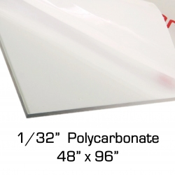 "0.030"" x 48"" x 96"" Polycarbonate Sheet for Face Shields (1/32 inch)"