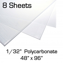 """0.030"""" x 48"""" x 96"""" Polycarbonate Sheet, 8 Pack, for Face Shields (1/32 inch)"""