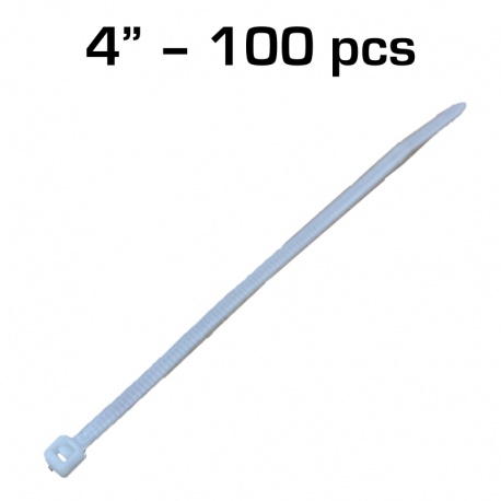 "4"" Zip Tie, White, 100 pack"