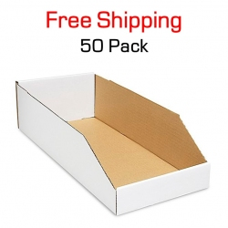 "Bin 18"" x 8"" x 4.5"", 50 Pack, White Corrugated"