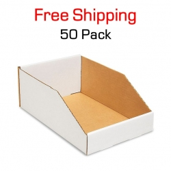 "Bin 12"" x 8"" x 4.5"", 50 Pack, White Corrugated"
