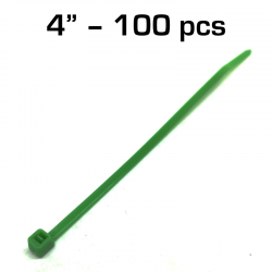 "4"" Zip Tie, Green, 100 pack"