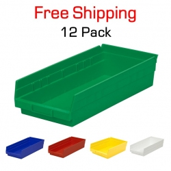 "Shelf Bin 12"" x 8"" x 4"", 12 Pack"