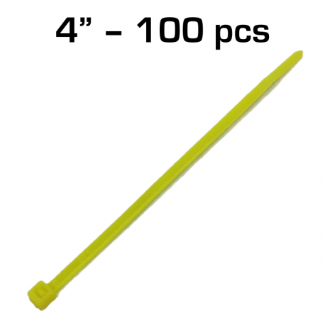 "4"" Zip Tie, Yellow, 100 pack"