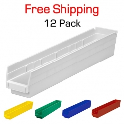 "Shelf Bin 24"" x 4"" x 4"", 12 Pack"