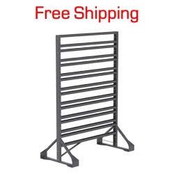 "2 Sided Hanging Bin Rack, 16 Rails, 53"" Tall"