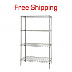 "Wire Shelving Unit, 48"" x 18"" x 74"""