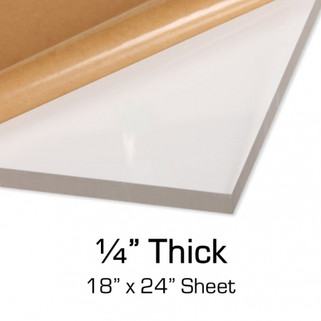 "Clear Acrylic, 1/4"" Thick, 18"" x 24"" Sheet"