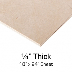 "Sanded Plywood, 1/4"" Thick, 18"" x 24"" Sheet"